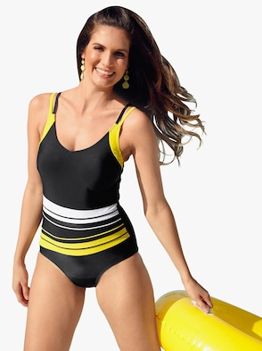 Badeanzug - schwarz-gelb