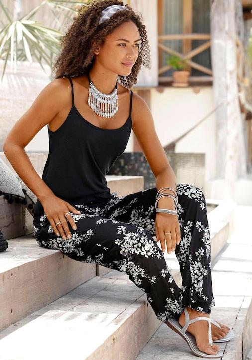 LASCANA Strandhose - schwarz-creme