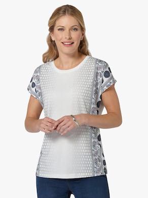 Tričko - Námornícka modrá-ružová-vzorovaná