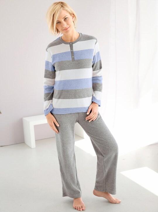 Normann Schlafanzug - blau-grau-meliert