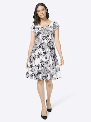 Jersey-Kleid - weiß-bedruckt