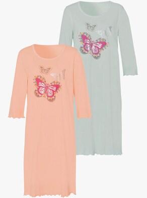 Nachthemd - mint + apricot