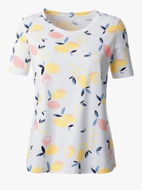 Tričko - ecru-žlutá-vzor