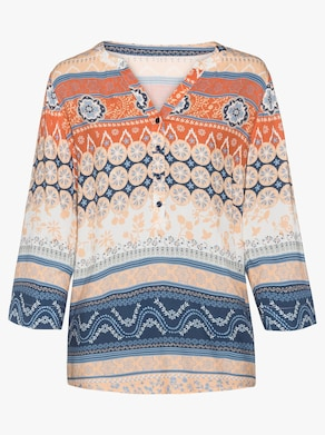 Bluse - mandarin-weiß-bedruckt
