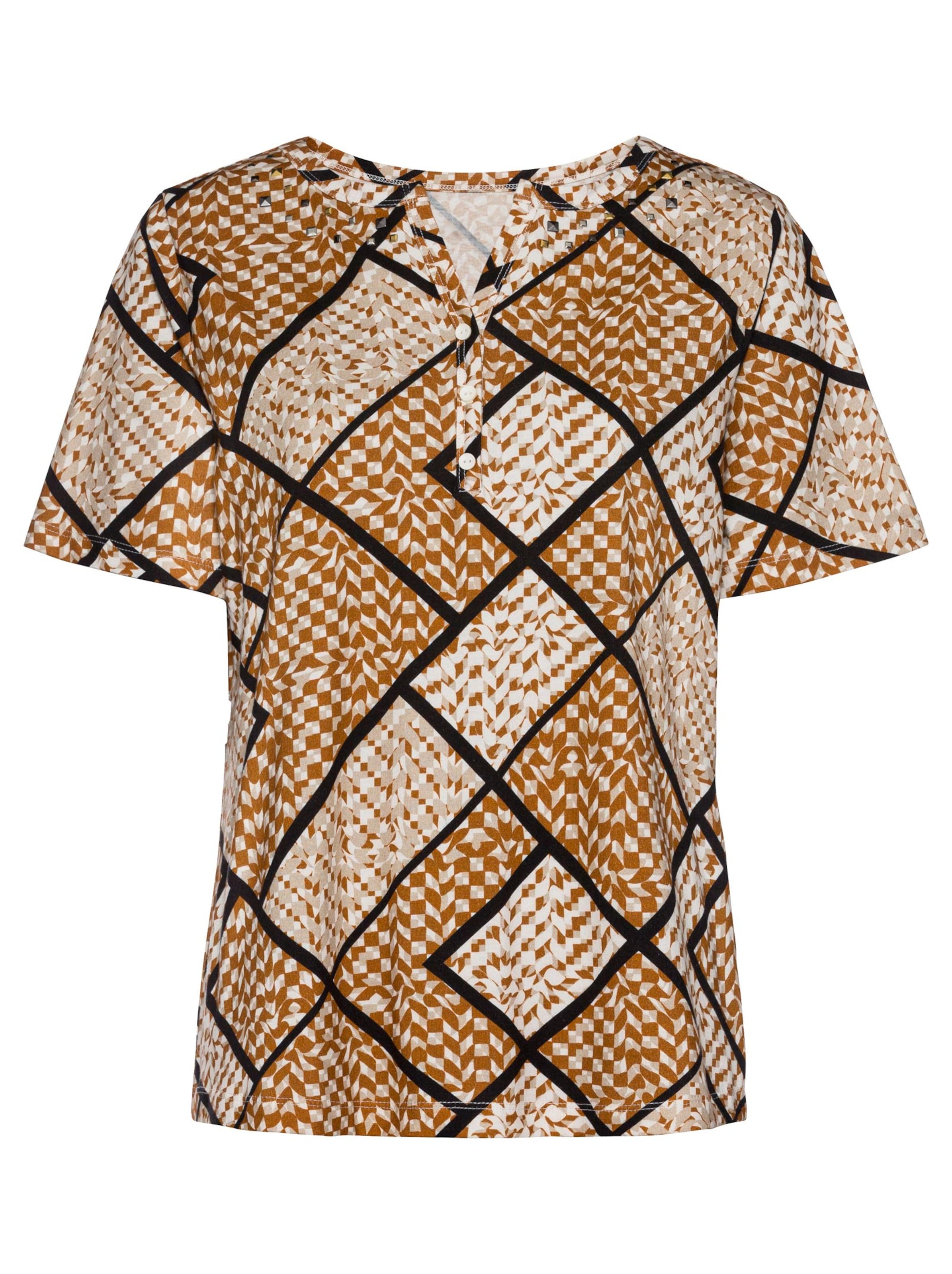 witt weiden -  Damen Shirt cognac-beige-bedruckt