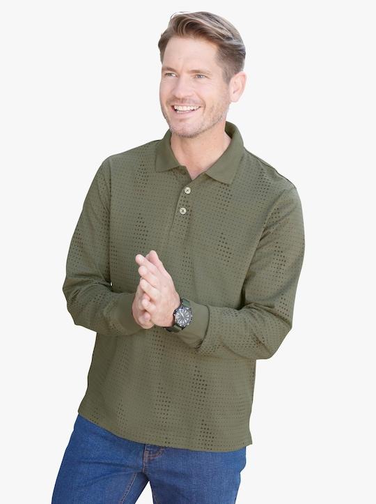 Poloshirt - khaki-zeder-bedruckt