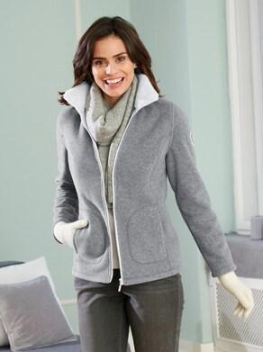 Fleece-Jacke - grau-meliert