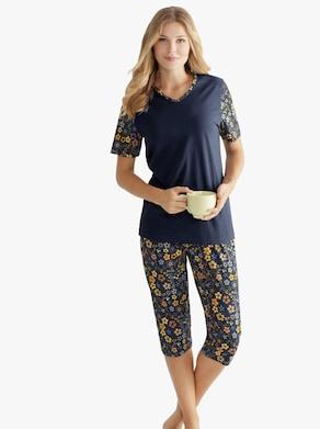 Capri-Schlafanzug - dunkelblau-bedruckt