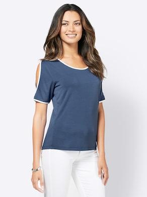 Shirt - jeansblau-ecru