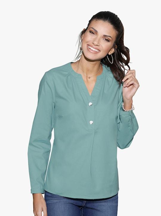 Flanellen blouse - salie