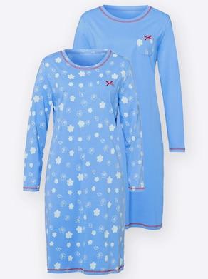 Nachthemd - himmelblau + himmelblau-bedruckt
