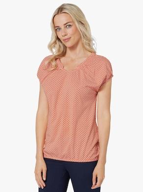 Tričko s krátkým rukávem - papája-bílá-potisk