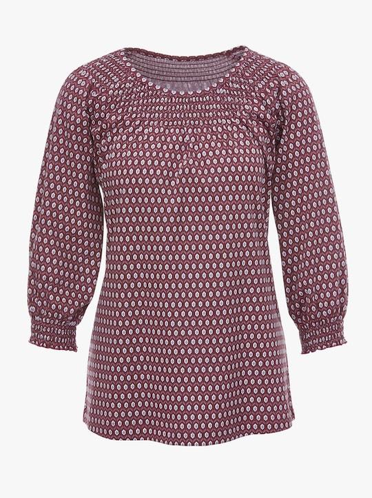 Shirt - bordeaux gedessineerd