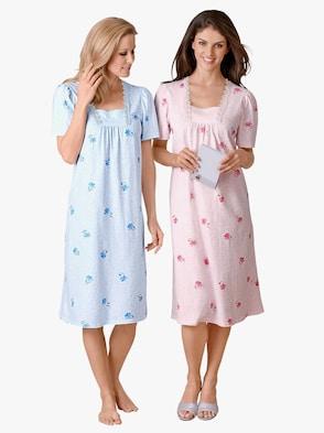 Kurzarm-Nachthemden - rosé + bleu