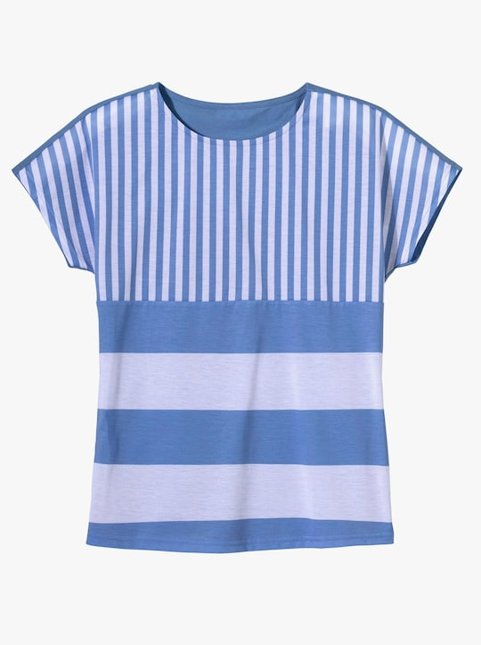 Shirt - korenbloem/wit gestreept