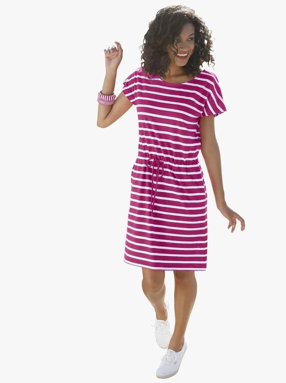 Jersey-Kleid - fuchsia-weiß-gestreift