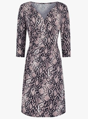 Jersey-Kleid - rosé-schwarz-bedruckt