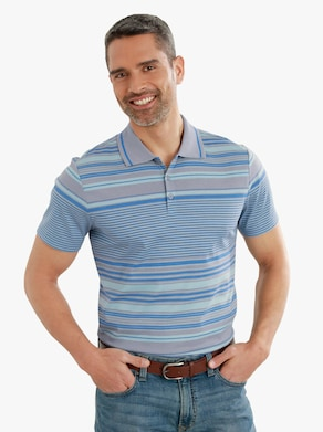 Poloshirt - steengrijs gestreept