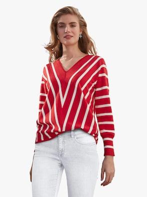 Pullover - koralle-gemustert