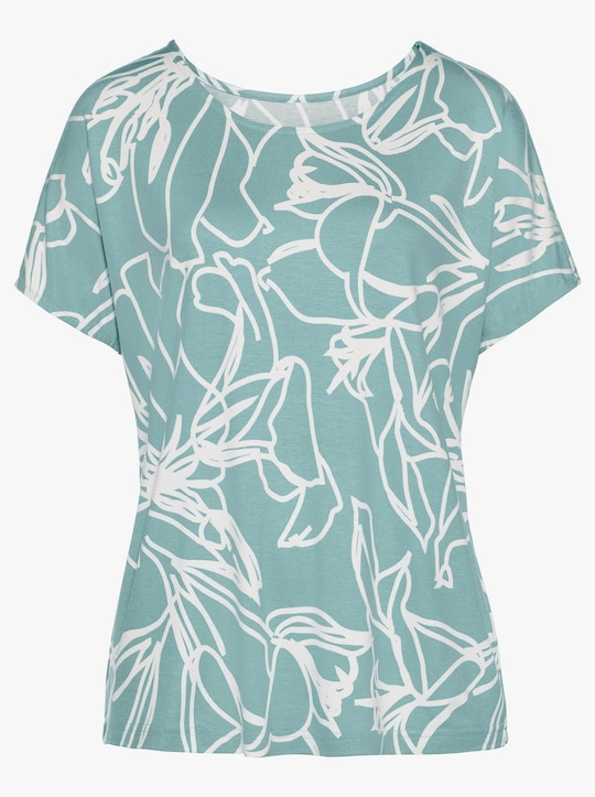 Fair Lady Shirt - mint-ecru-bedruckt