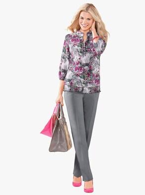 Comfortabele blouse - grijs geprint