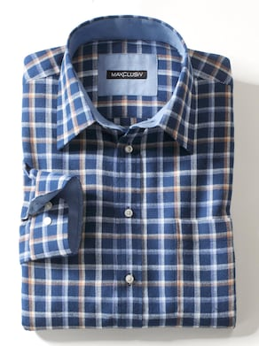 Langarm-Hemd - blau-kariert
