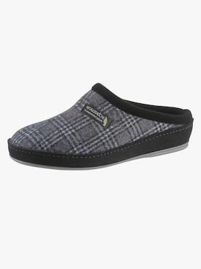 Pantoffel - blau-grau-kariert