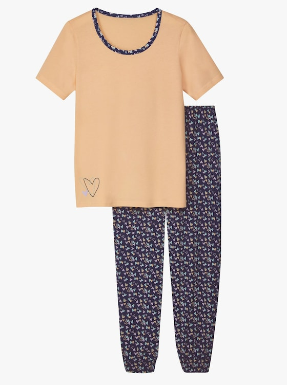 Schlafanzug - apricot-marine-bedruckt