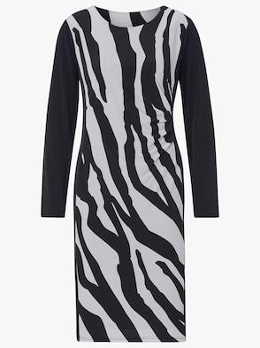 Jersey-Kleid - schwarz-wollweiß-bedruckt