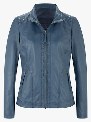 Leder-Jacke - jeansblau