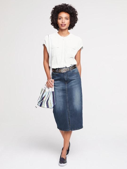 Linea Tesini Jeans-Rock - blue denim