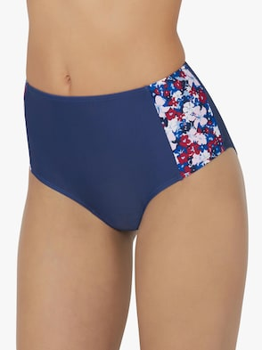 Bikini-Slip - blau-rot-bedruckt