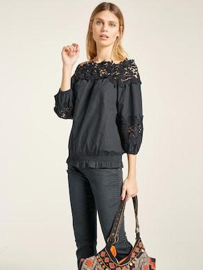 Linea Tesini Spitzen-Bluse - schwarz