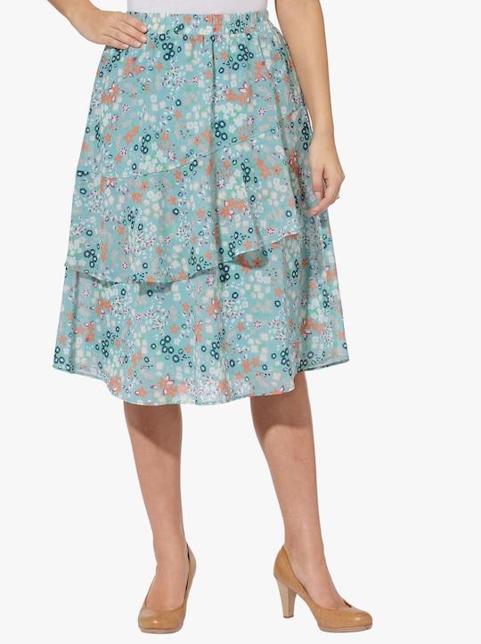Sukňa - šalvia s potlačou