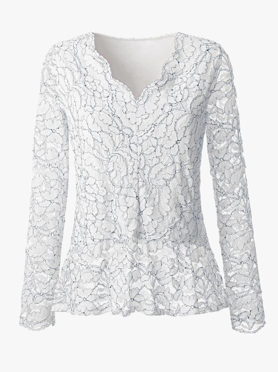 Shirt - weiß-marine-gemustert