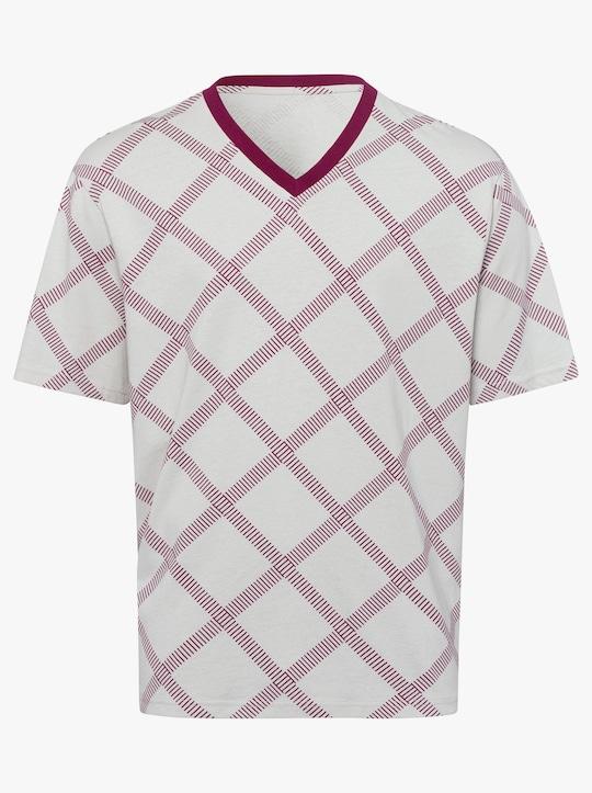 Krátké pyžamo - bordó-vzor