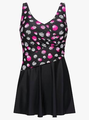 feel good Badeanzug - schwarz-pink-bedruckt