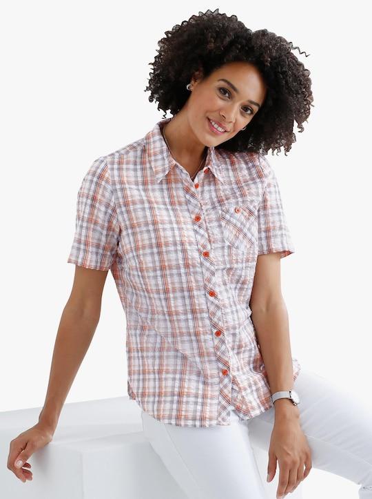 Katoenen blouse - grapefruit-geruit