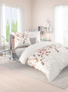 Biberna Bettwäsche - weiß-apricot