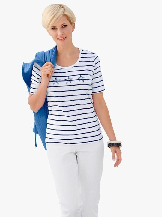 Shirt - wit/marine gestreept