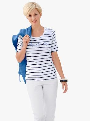 Shirt - weiß-marine-geringelt
