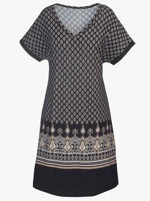 Jersey-Kleid - schwarz-beige