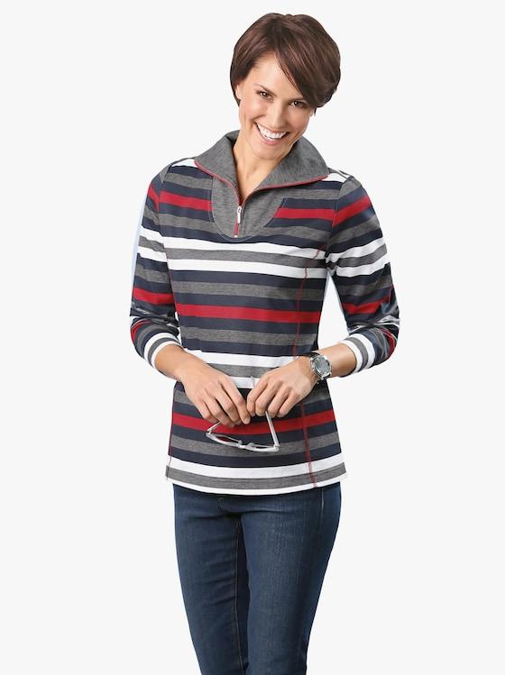 Sweatshirt - rot-marine-geringelt