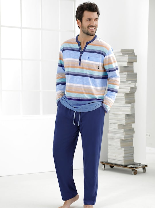 Hajo Schlafanzug - blau-gestreift