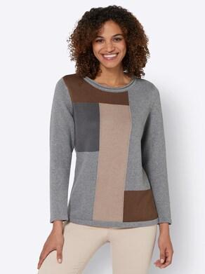Pullover - steingrau-gemustert