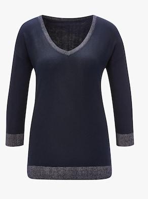 Viskose-Seiden-Pullover - marine