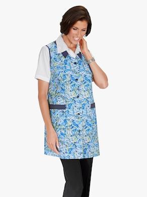 3/4-damesblouse - blauw gedessineerd