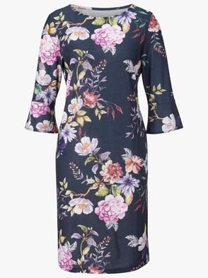 Jersey-Kleid - marine-flieder-bedruckt