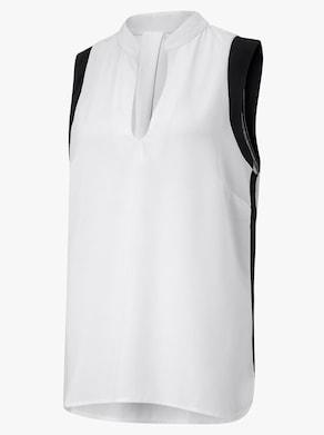 Longbluse - weiß-schwarz