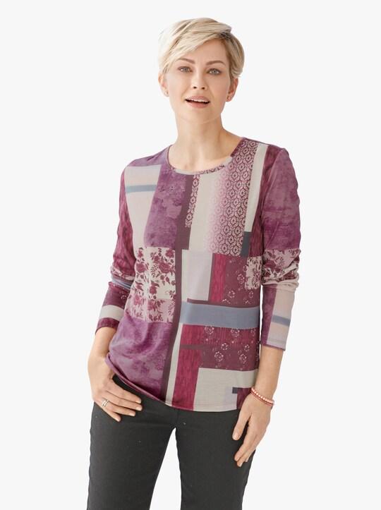 Zimní tričko - bordó-vzor